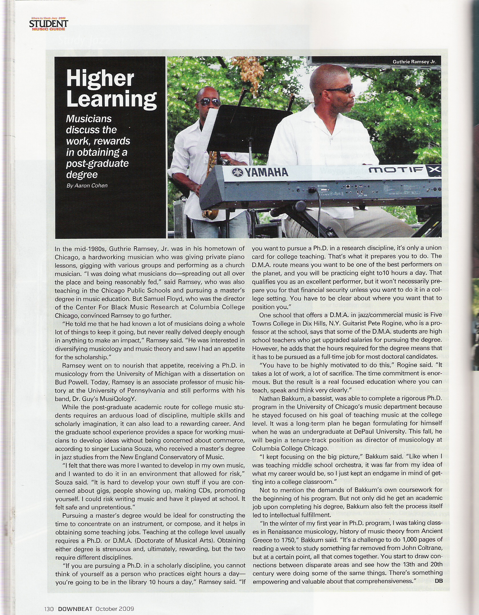 Downbeat Magazine October 09 - Higher Education Article