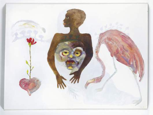 Suzanne Jackson, Apparitional Visitations, 1973.  Acrylic wash on canvas. 54 x 72 in. (137.2 x 182.9 cm). Collection of Vaugh C. Payne Jr., M.D.