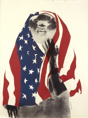 "David Hammons. ""America the Beautiful, 1968. Lithograph and body print. 39 x 29 1/2 in. (99.1 x 74.9cm)."